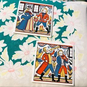 Vintage Tile Trivets Illustration Marriage at Cana